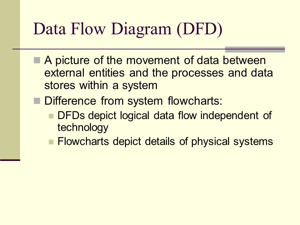 Data Flow Diagram (DFD) A picture of the movement of data between external entities and the processes and data stores within a system Difference from