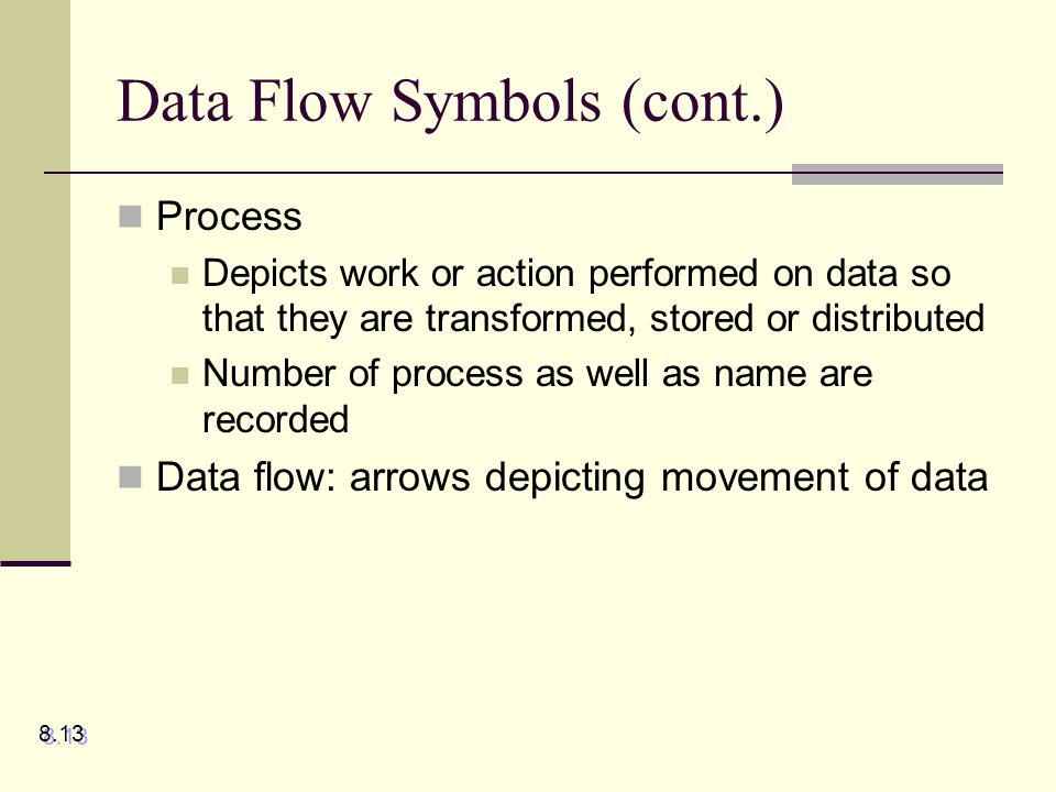 Data Flow Symbols (cont.) Process Depicts work or action performed on data so that they are transformed, stored or distributed Number of process as we