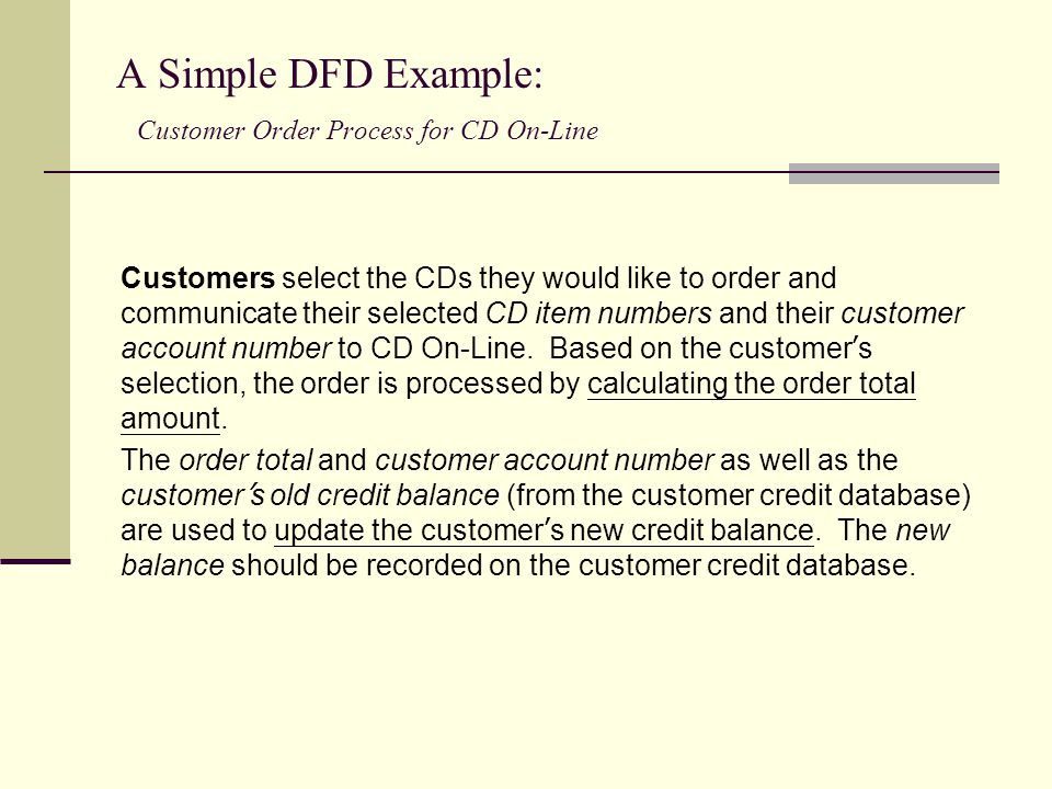 A Simple DFD Example: Customer Order Process for CD On-Line Customers select the CDs they would like to order and communicate their selected CD item n