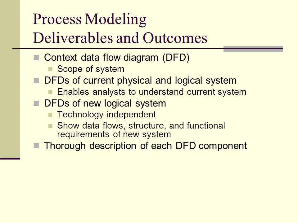 Process Modeling Deliverables and Outcomes Context data flow diagram (DFD) Scope of system DFDs of current physical and logical system Enables analyst