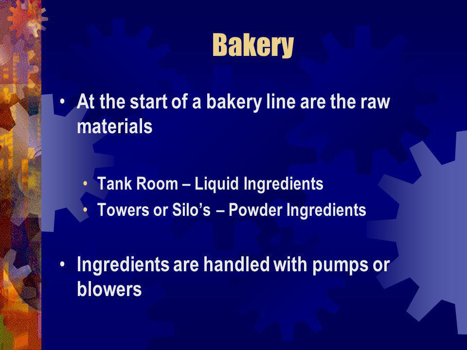 Bakery At the start of a bakery line are the raw materials Tank Room – Liquid Ingredients Towers or Silos – Powder Ingredients Ingredients are handled with pumps or blowers