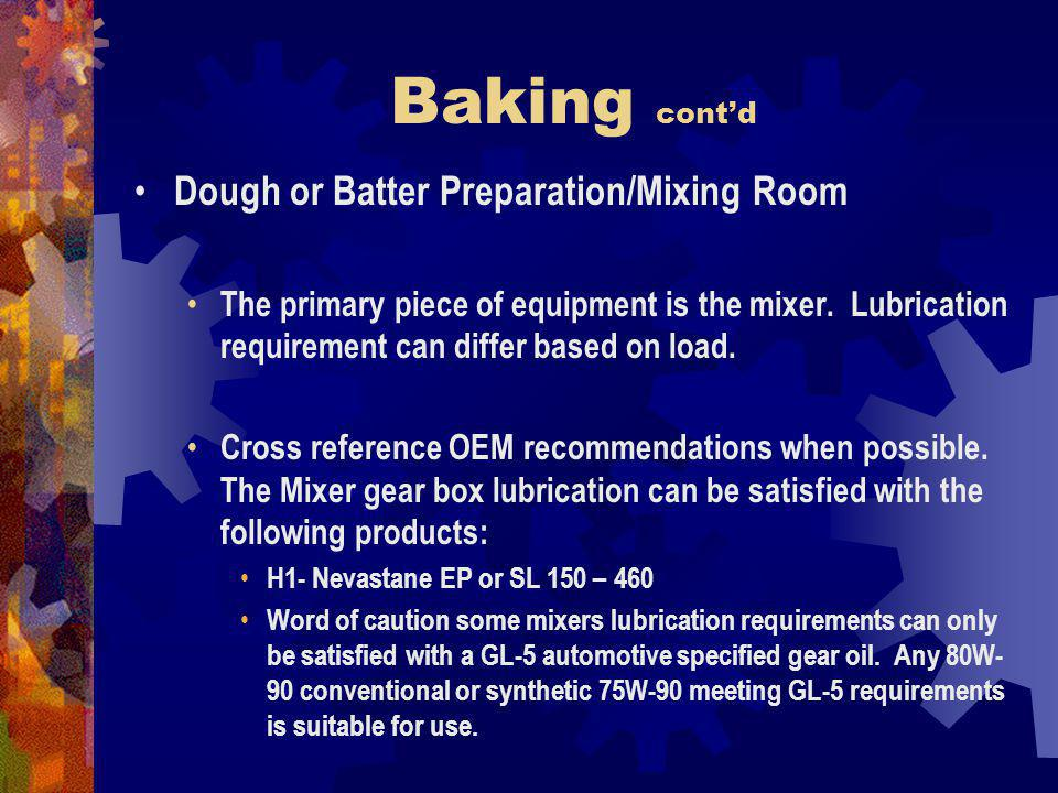 Baking contd Dough or Batter Preparation/Mixing Room The primary piece of equipment is the mixer.