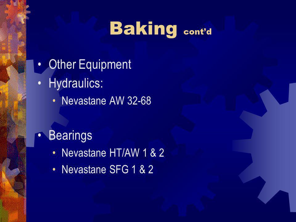 Baking contd Other Equipment Hydraulics: Nevastane AW 32-68 Bearings Nevastane HT/AW 1 & 2 Nevastane SFG 1 & 2