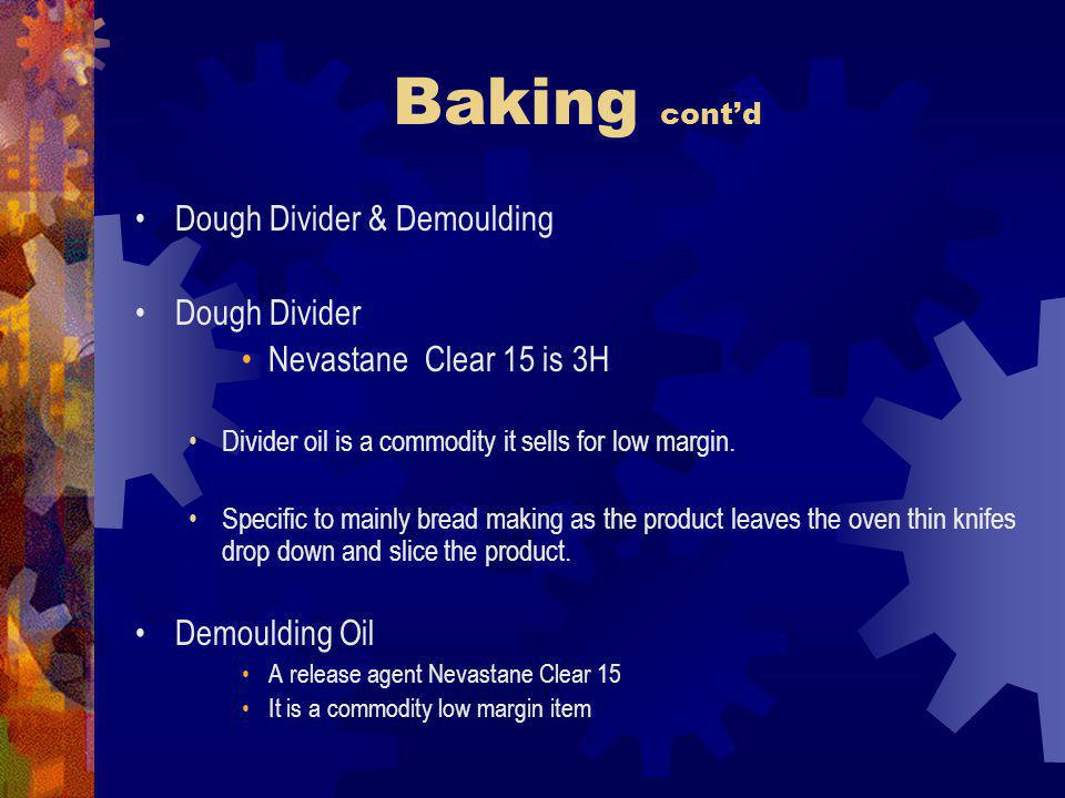 Baking contd Dough Divider & Demoulding Dough Divider Nevastane Clear 15 is 3H Divider oil is a commodity it sells for low margin.
