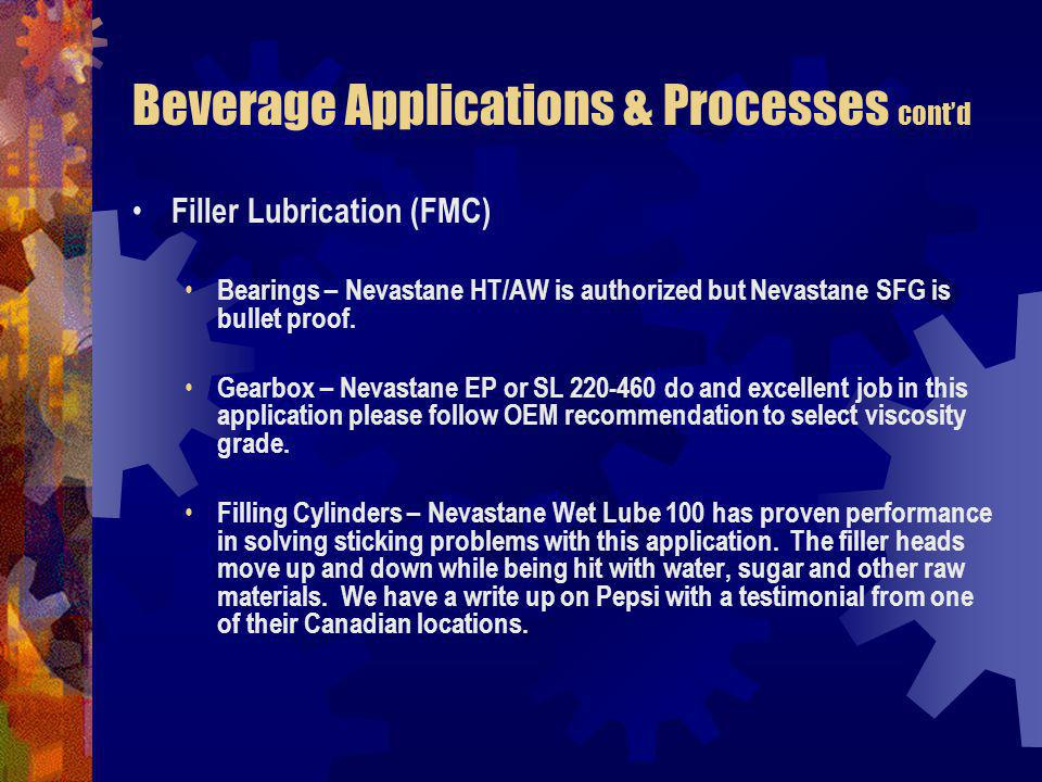 Beverage Applications & Processes contd Filler Lubrication (FMC) Bearings – Nevastane HT/AW is authorized but Nevastane SFG is bullet proof.