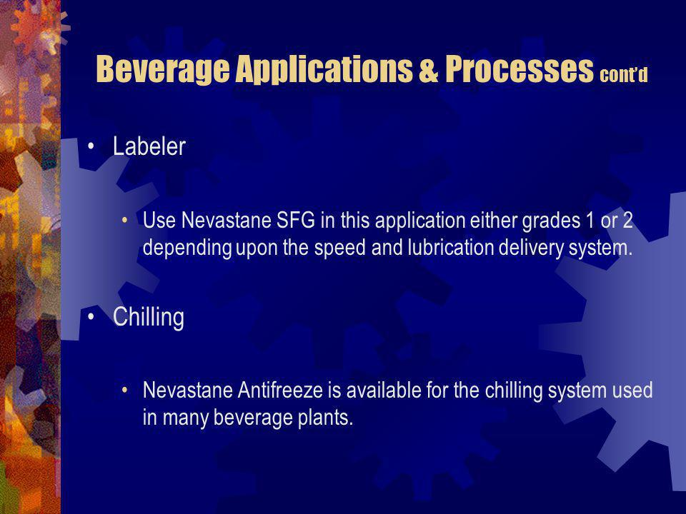 Beverage Applications & Processes contd Labeler Use Nevastane SFG in this application either grades 1 or 2 depending upon the speed and lubrication de