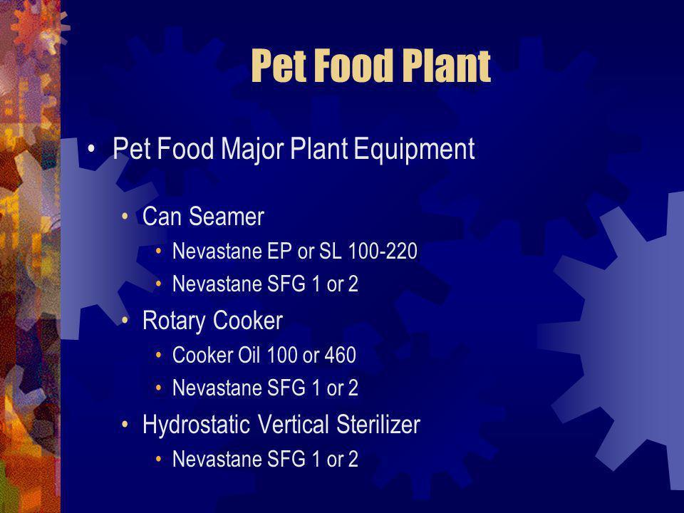 Pet Food Plant Pet Food Major Plant Equipment Can Seamer Nevastane EP or SL 100-220 Nevastane SFG 1 or 2 Rotary Cooker Cooker Oil 100 or 460 Nevastane