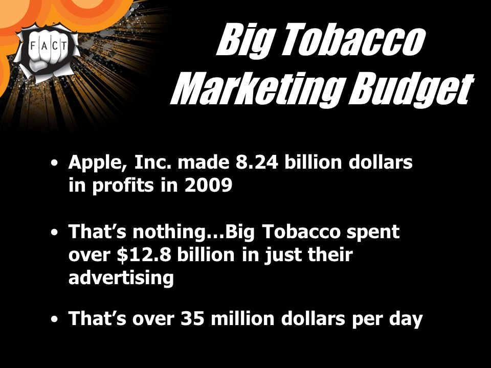 Big Tobacco in WI Big Tobacco spends an estimated $274,000,000 in advertising in WI alone.