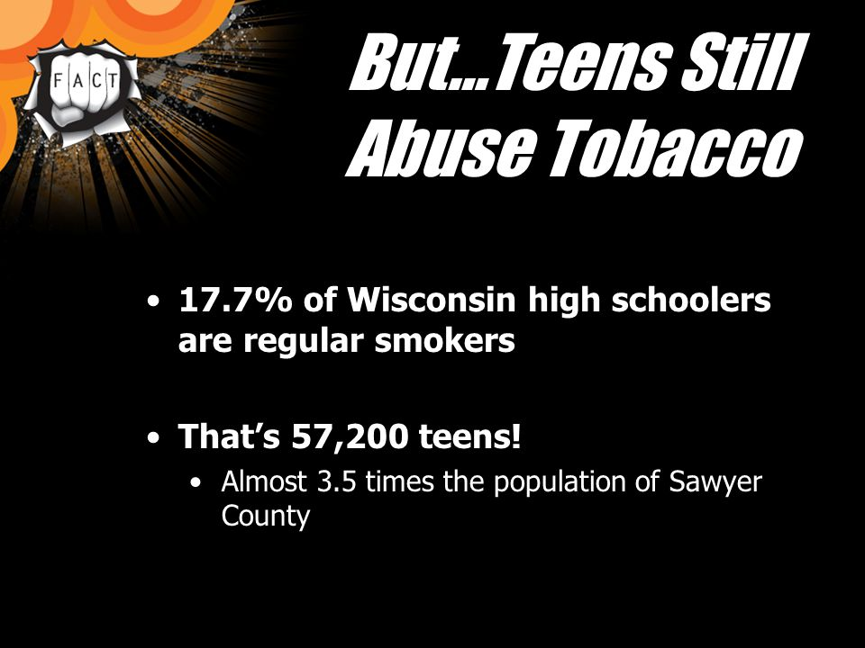 But…Teens Still Abuse Tobacco 17.7% of Wisconsin high schoolers are regular smokers Thats 57,200 teens.