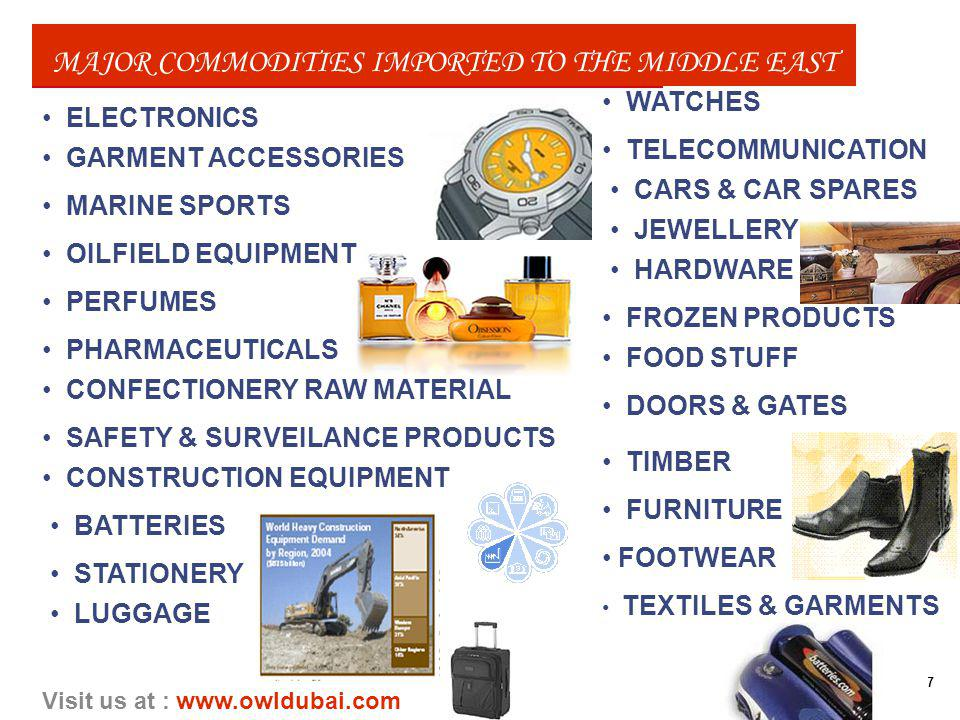 7 Visit us at : www.owldubai.com MAJOR COMMODITIES IMPORTED TO THE MIDDLE EAST ELECTRONICS TELECOMMUNICATION CARS & CAR SPARES PERFUMES TEXTILES & GARMENTS FOOTWEAR JEWELLERY LUGGAGE HARDWARE FURNITURE PHARMACEUTICALS WATCHES STATIONERY DOORS & GATES GARMENT ACCESSORIES MARINE SPORTS FROZEN PRODUCTS OILFIELD EQUIPMENT FOOD STUFF BATTERIES SAFETY & SURVEILANCE PRODUCTS CONSTRUCTION EQUIPMENT CONFECTIONERY RAW MATERIAL TIMBER