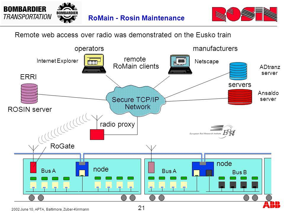 2002 June 10, APTA, Baltimore, Zuber-Kirrmann 21 RoMain - Rosin Maintenance Remote web access over radio was demonstrated on the Eusko train remote Ro