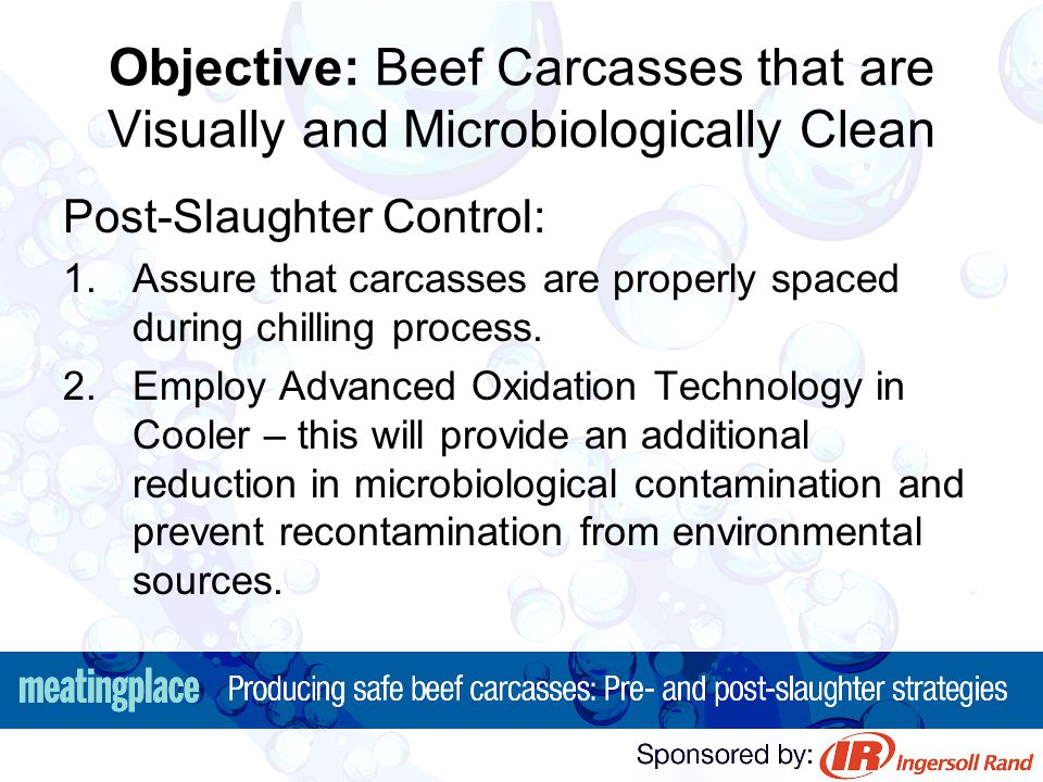 Objective: Beef Carcasses that are Visually and Microbiologically Clean Post-Slaughter Control: 1.Assure that carcasses are properly spaced during chi