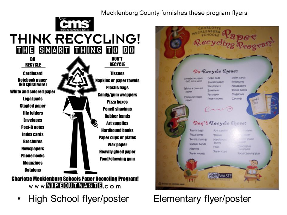 High School flyer/poster Elementary flyer/poster Mecklenburg County furnishes these program flyers