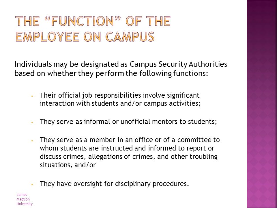 Individuals may be designated as Campus Security Authorities based on whether they perform the following functions: Their official job responsibilitie