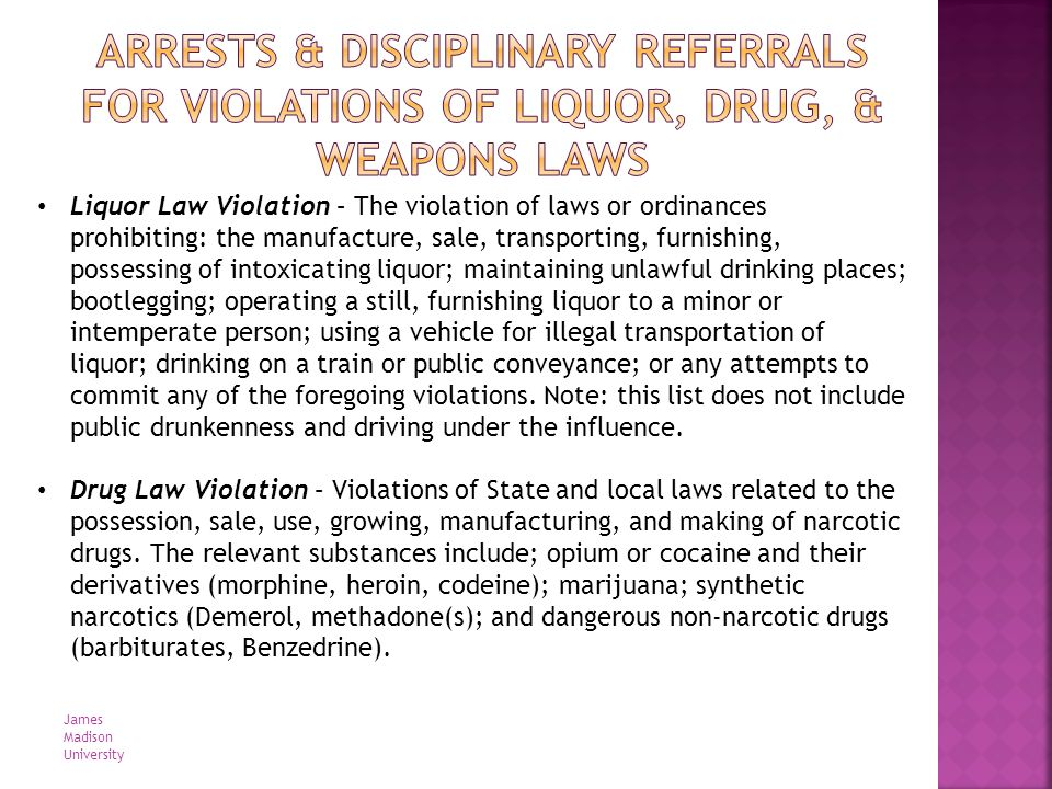 Liquor Law Violation – The violation of laws or ordinances prohibiting: the manufacture, sale, transporting, furnishing, possessing of intoxicating li