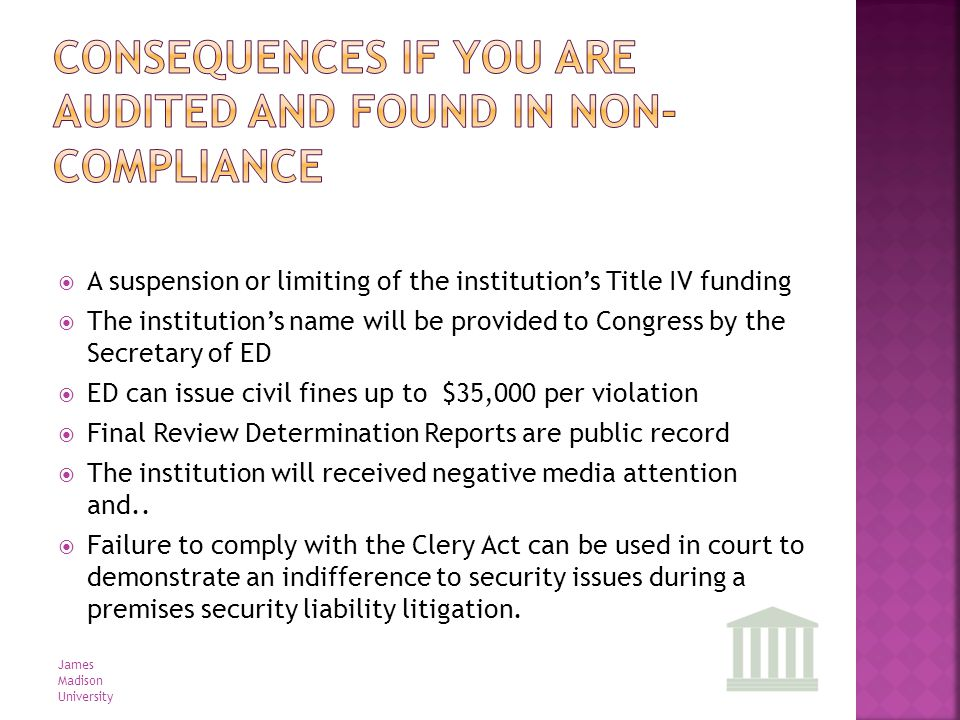 A suspension or limiting of the institutions Title IV funding The institutions name will be provided to Congress by the Secretary of ED ED can issue c