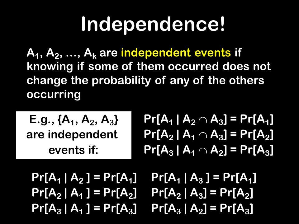 Pr[A 1 | A 2 A 3 ] = Pr[A 1 ] Pr[A 2 | A 1 A 3 ] = Pr[A 2 ] Pr[A 3 | A 1 A 2 ] = Pr[A 3 ] Pr[A 1 | A 2 ] = Pr[A 1 ]Pr[A 1 | A 3 ] = Pr[A 1 ] Pr[A 2 |