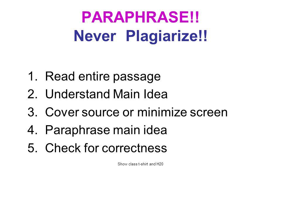 PARAPHRASE!.Never Plagiarize!.