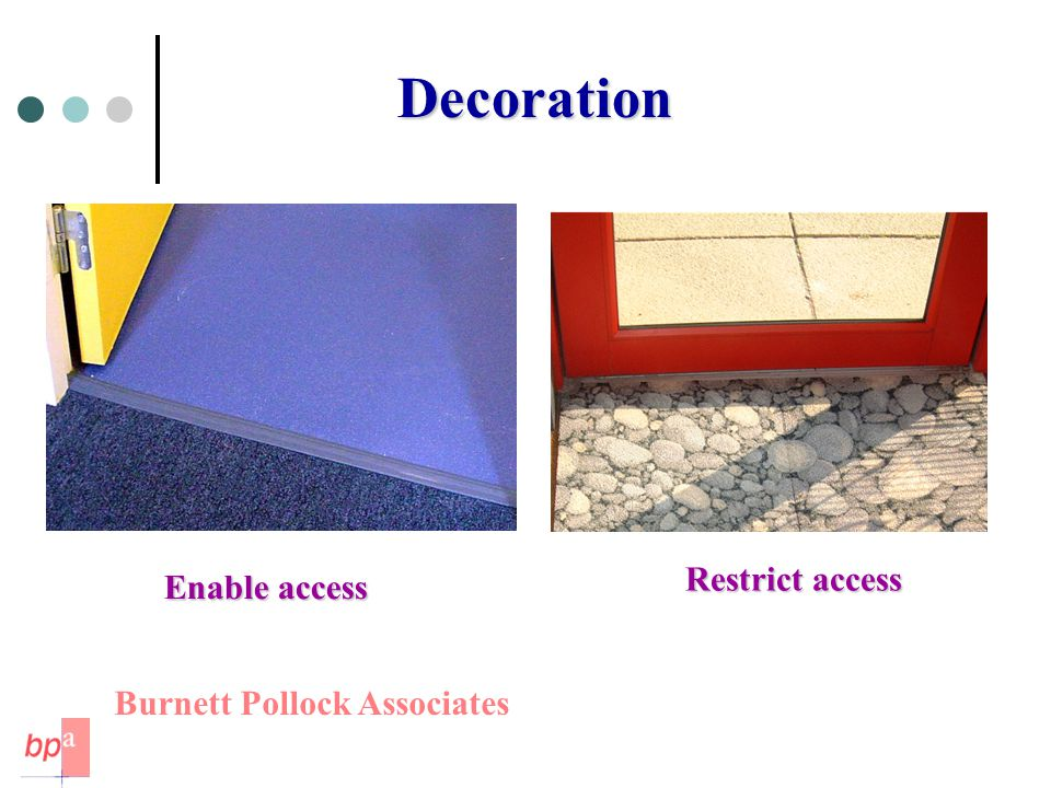 Decoration Enable access Restrict access Burnett Pollock Associates