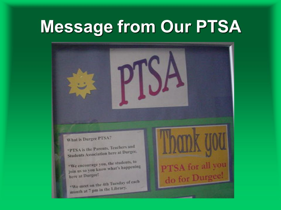 Message from Our PTSA