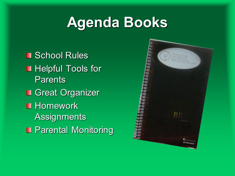Agenda Books School Rules Helpful Tools for Parents Great Organizer Homework Assignments Parental Monitoring