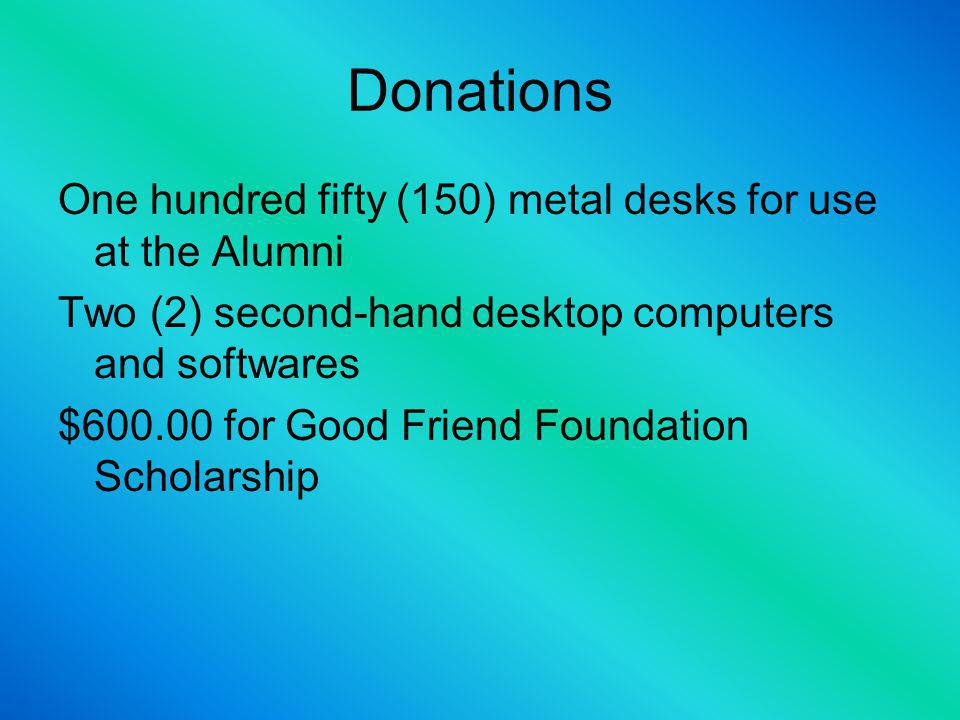 Donations One (1) organ/keyword and two (2) guitars faculty and students use Financial donation to QUESINHAYAW Cultural Troupe Five (5) Metal bookshelves for the library Sixteen(16) Library tables One hundred (100) plastic chairs for the library