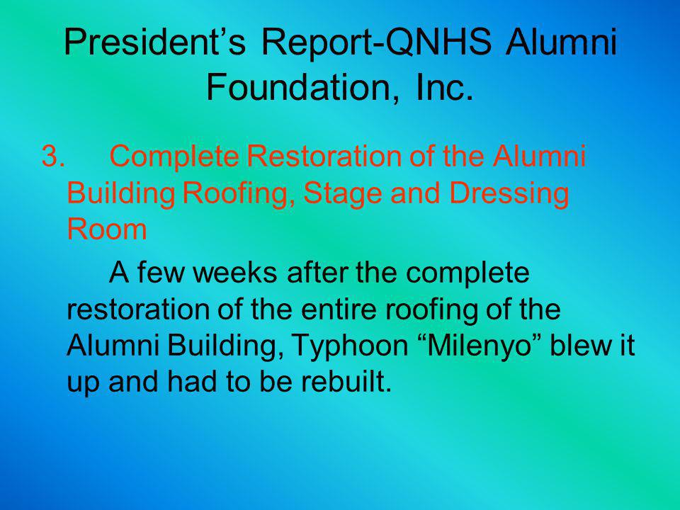 MaterialsLaborTotal Alumni Hall P 1,687.00P 1,000.00P 2,687.00 Ceiling P21,612.65P 3,050.00P24,662.65 Electrical P13,323.50P 5,700.00P19,023.50 Flooring P14,032.00P 4,400.00P18,432.00 Painting P 8,111.00P 4,600.00P12,711.00 T & B Walls P16,490.00P 5,375.00P21,865.00 Plumbing P 3,166.00P 950.00P 4,116.00 Kitchen P 2,258.00P 1,375.00P 3,633.00 Gas P 3000.00-P 3,000.00 Clearing P 150.00 Total P 83,680.15P 26,600.00P 110,280.15