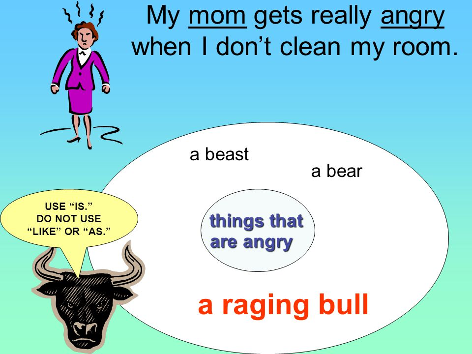 My mom is a bear when I dont clean my room. My mom gets really angry when I dont clean my room.