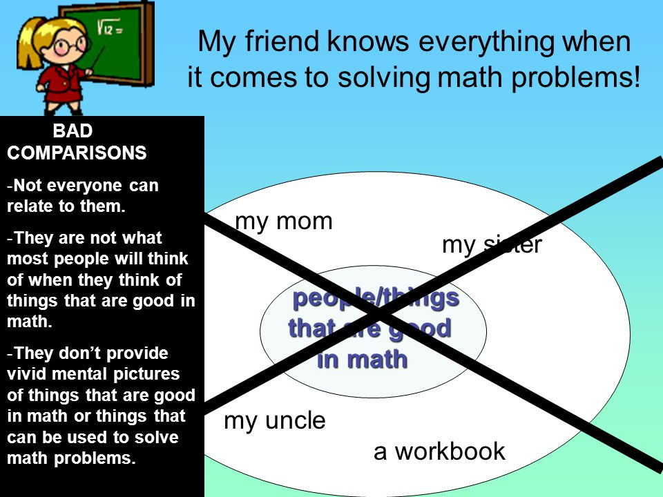 My friend knows everything when it comes to solving math problems! To create a metaphor, we must first think about things the friend can be compared t