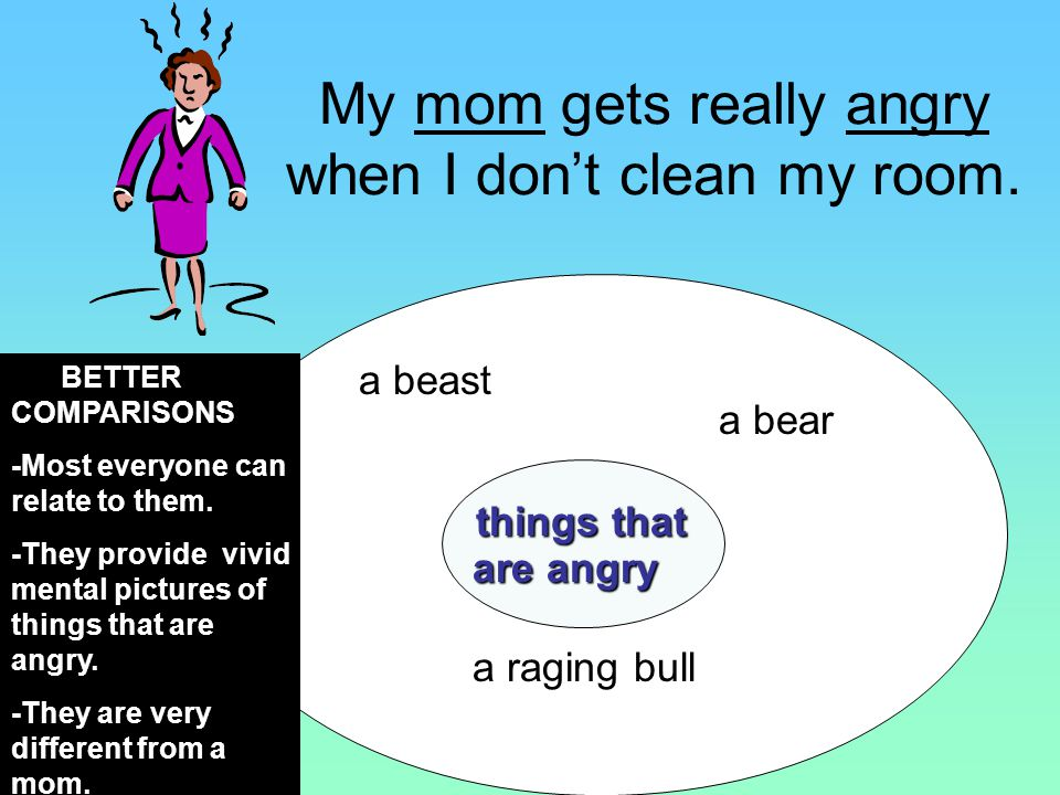a beast a bear things that are angry are angry a raging bull BETTER COMPARISONS -Most everyone can relate to them.
