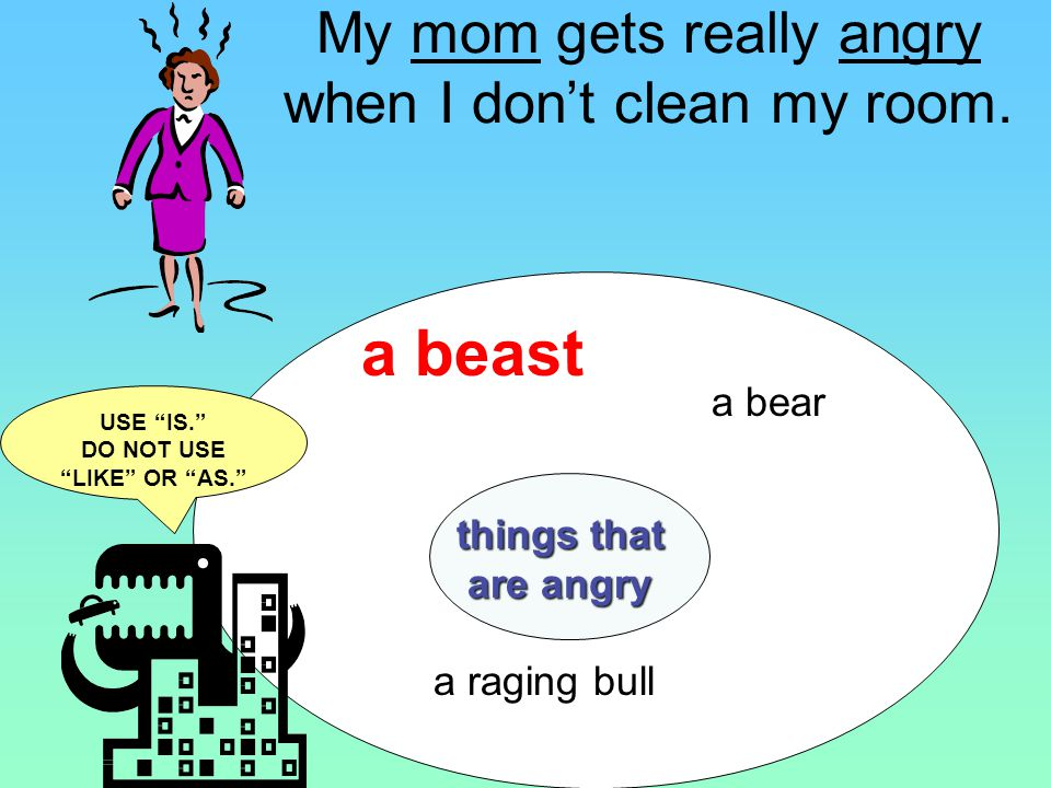 Adding sentences: My mom is a beast when I dont clean my room.
