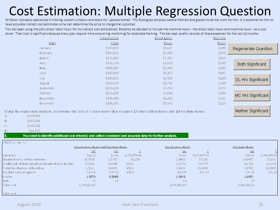Cost Estimation: Multiple Regression Question Tito has been using the job s direct labor hours for his indirect cost estimations.