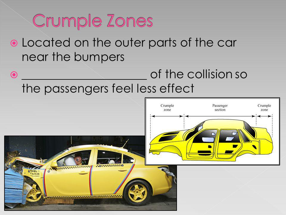 Located on the outer parts of the car near the bumpers _____________________ of the collision so the passengers feel less effect
