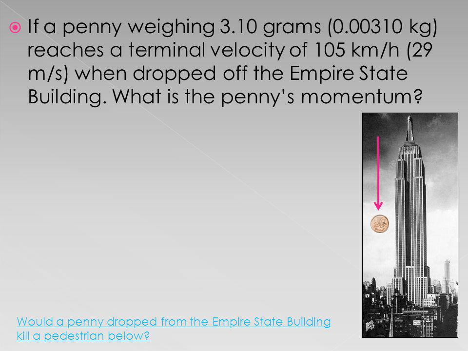 If a penny weighing 3.10 grams (0.00310 kg) reaches a terminal velocity of 105 km/h (29 m/s) when dropped off the Empire State Building. What is the p