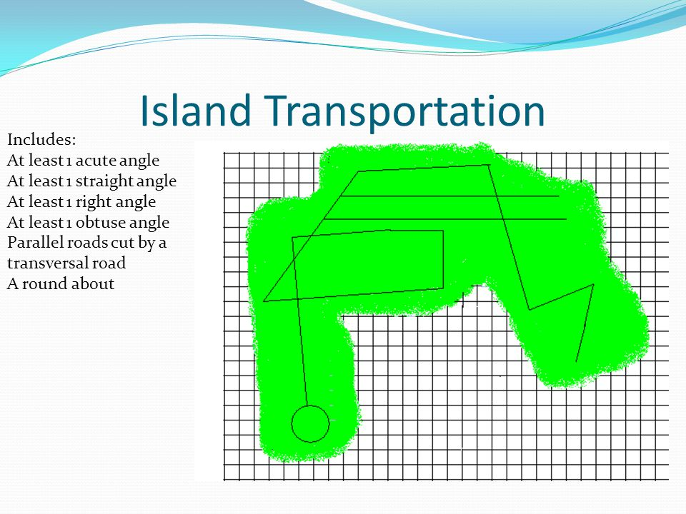 Island Transportation Includes: At least 1 acute angle At least 1 straight angle At least 1 right angle At least 1 obtuse angle Parallel roads cut by