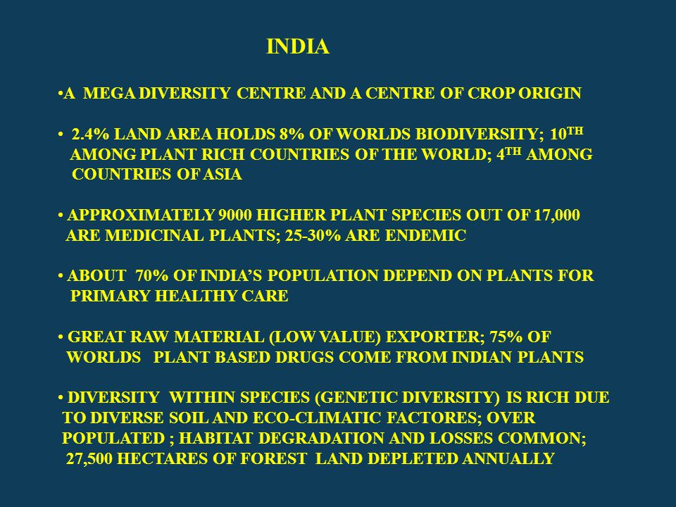 Megabiodiversity regions Mexico, Columbia, Equador, Peru, Brazil, Zaire, Medagascar, China, India, Malaysia, Indonesia, Australia