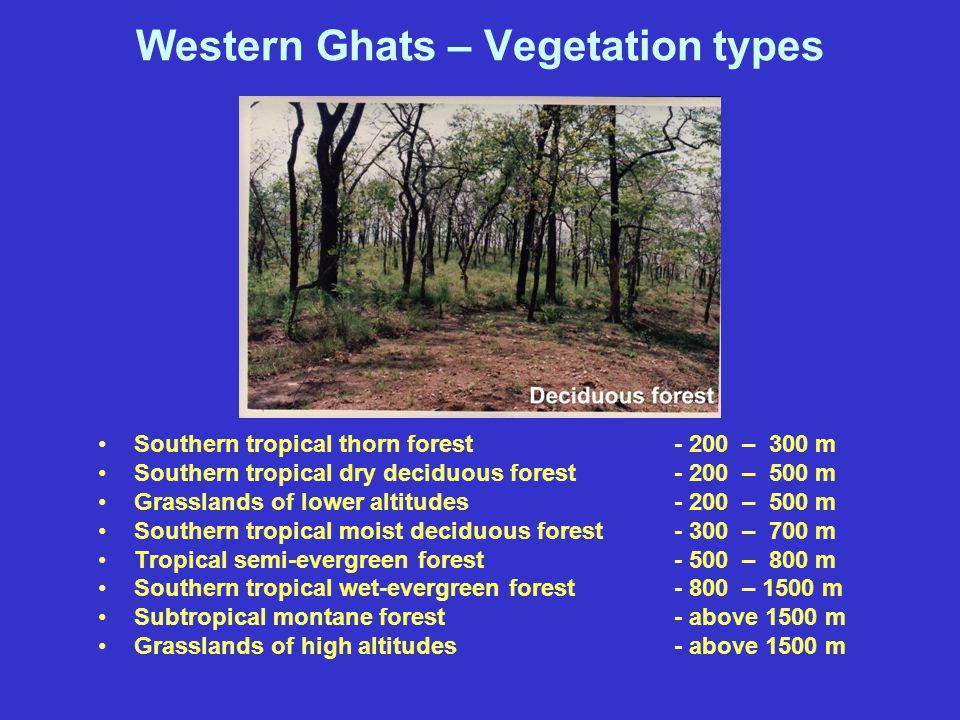 Western Ghats – Peaks Kalsubai - 1646 m Banasuram- 2060 m Vavulmala - 2339 m Doddabetta - 2637 m Devarmala - 1922 m Anamudi - 2695 m Agasthyamala - 18