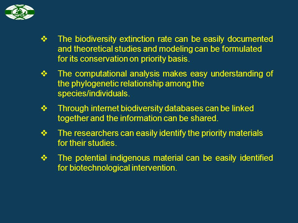 The important applications of bioinformatics in biodiversity are: The complex and voluminous data of biodiversity can be digitalised for easy accessio