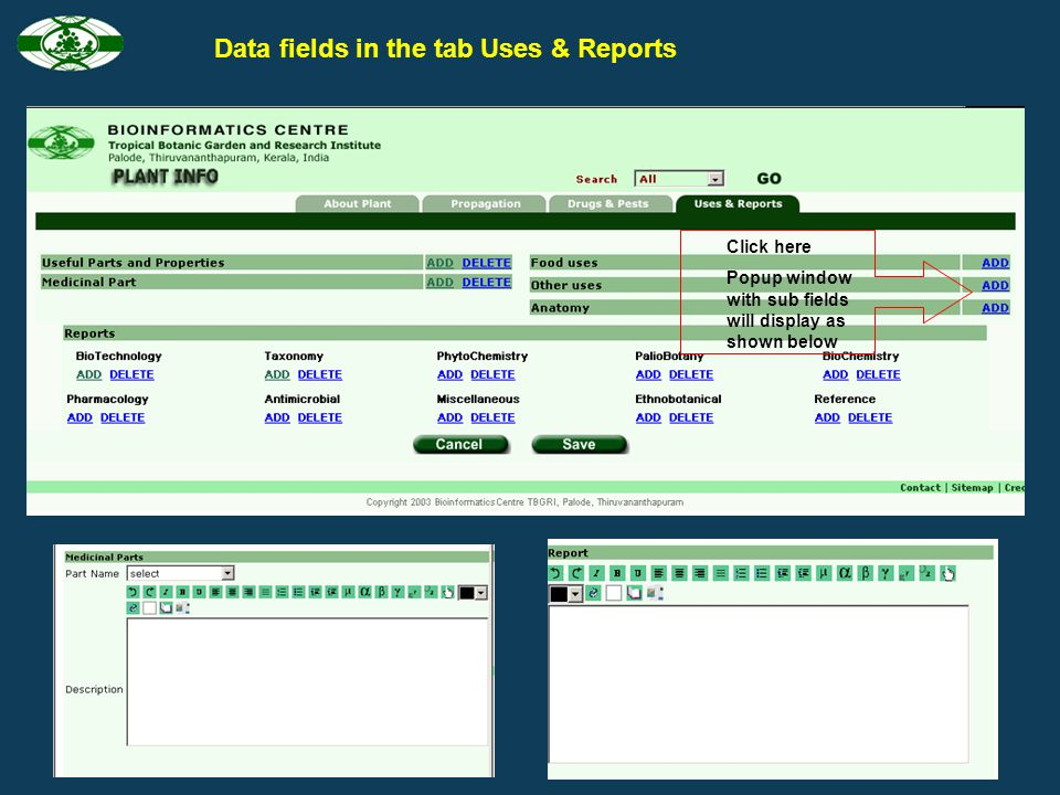 Data fields in the tab Drugs & Pests Click here Popup window with sub fields will display as shown below