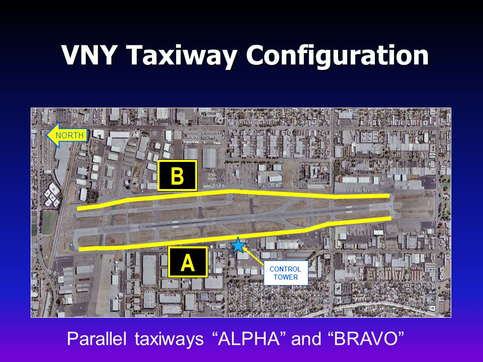 NORTH CONTROL TOWER VNY Taxiway Configuration Parallel taxiways ALPHA and BRAVO AB