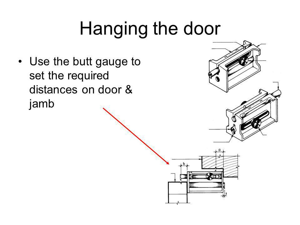 Hanging the door Use the butt gauge to set the required distances on door & jamb