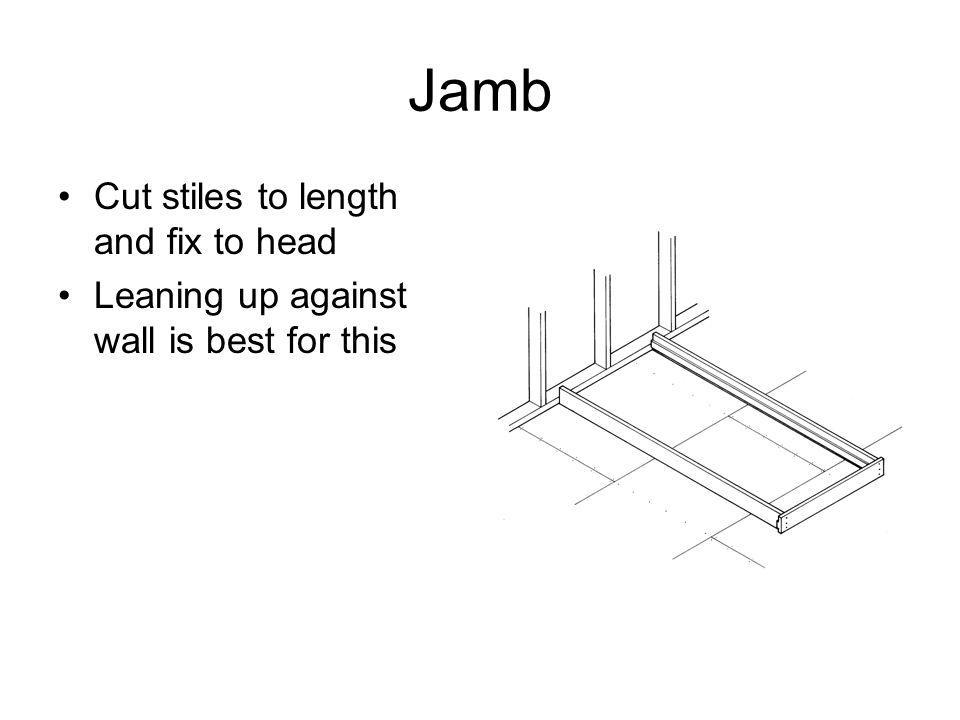 Jamb Fit temporary braces A spreader block can also be fitted Sill if applicable