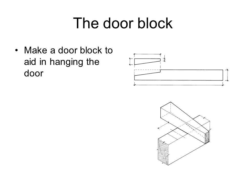 The door block Make a door block to aid in hanging the door