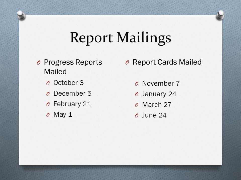 Report Mailings O Progress Reports Mailed O October 3 O December 5 O February 21 O May 1 O Report Cards Mailed O November 7 O January 24 O March 27 O