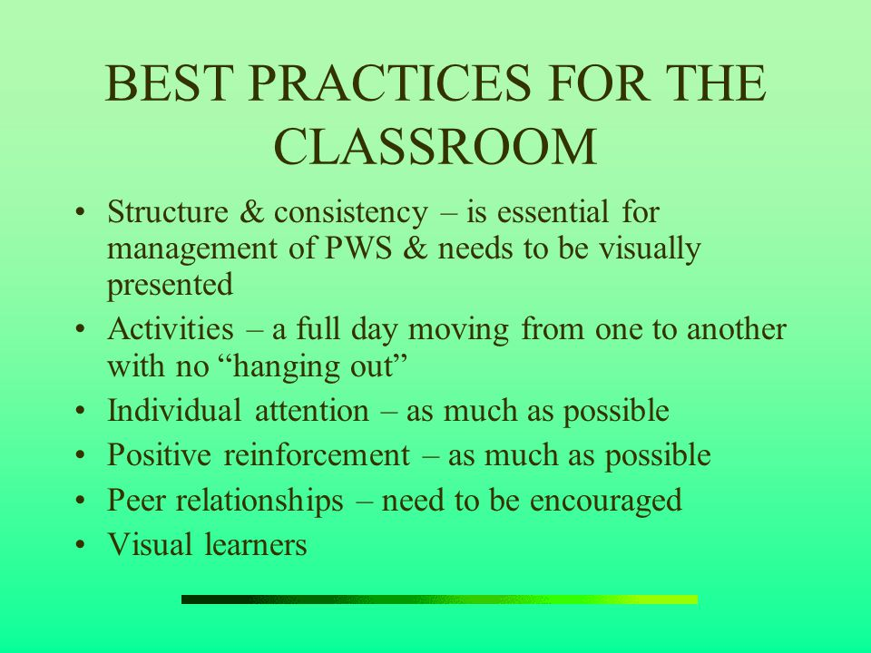 BEST PRACTICES FOR THE CLASSROOM Structure & consistency – is essential for management of PWS & needs to be visually presented Activities – a full day