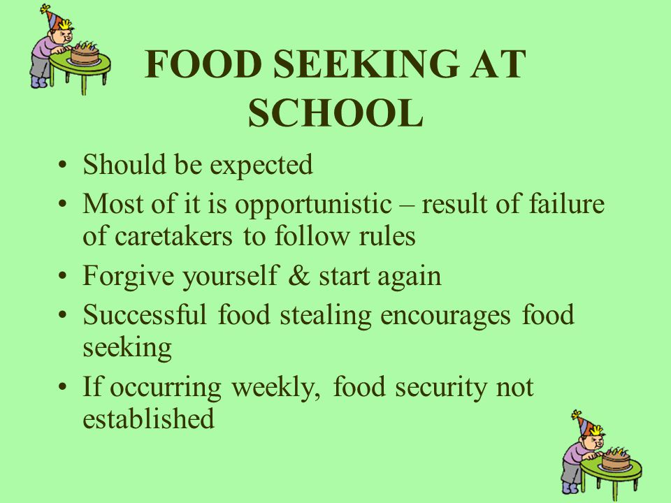 FOOD SEEKING AT SCHOOL Should be expected Most of it is opportunistic – result of failure of caretakers to follow rules Forgive yourself & start again