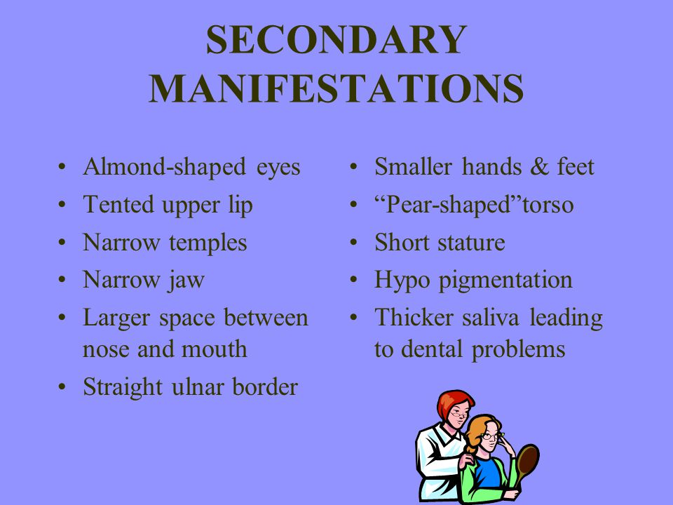 SECONDARY MANIFESTATIONS Almond-shaped eyes Tented upper lip Narrow temples Narrow jaw Larger space between nose and mouth Straight ulnar border Small