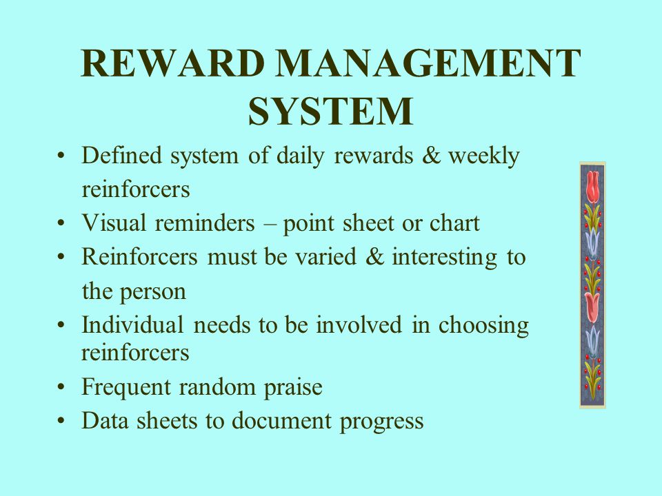 REWARD MANAGEMENT SYSTEM Defined system of daily rewards & weekly reinforcers Visual reminders – point sheet or chart Reinforcers must be varied & int
