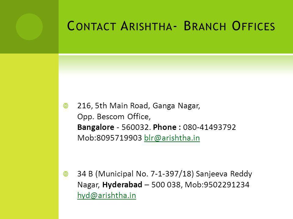 216, 5th Main Road, Ganga Nagar, Opp. Bescom Office, Bangalore - 560032. Phone : 080-41493792 Mob:8095719903 blr@arishtha.inblr@arishtha.in 34 B (Muni