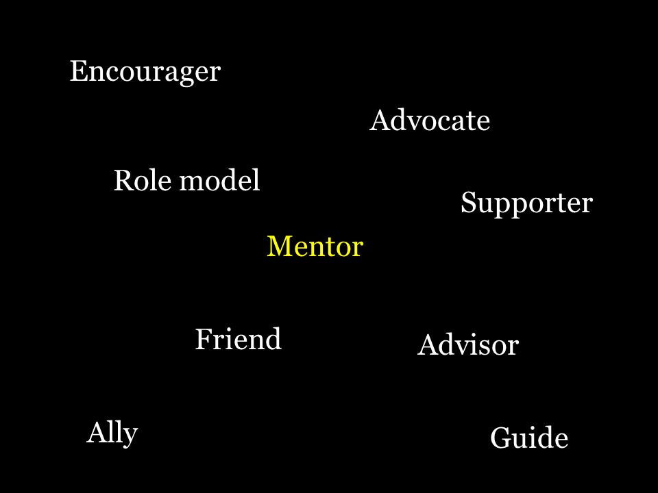 Advocate Advisor Role model Mentor Friend Guide Supporter Encourager Ally